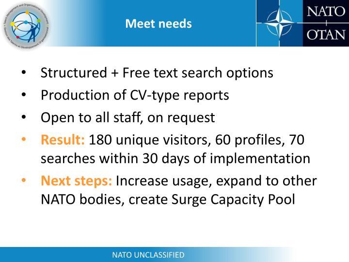 Meet needs