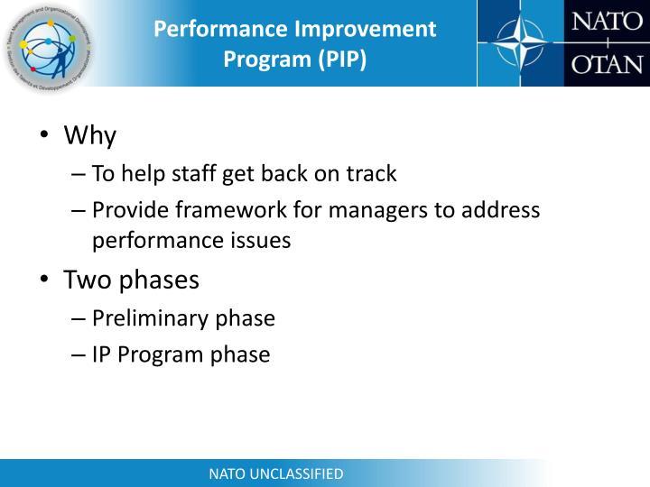 Performance Improvement Program (PIP)