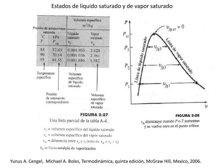 Estados de liquido saturado y de vapor saturado