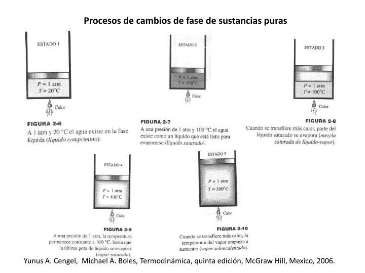 Procesos de cambios de fase de sustancias puras