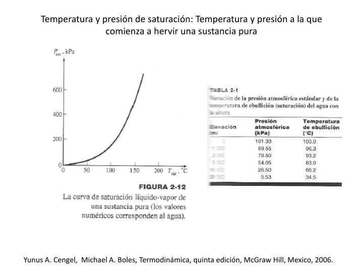 Temperatura y presión de saturación: Temperatura y presión a la que comienza a hervir una sustancia pura