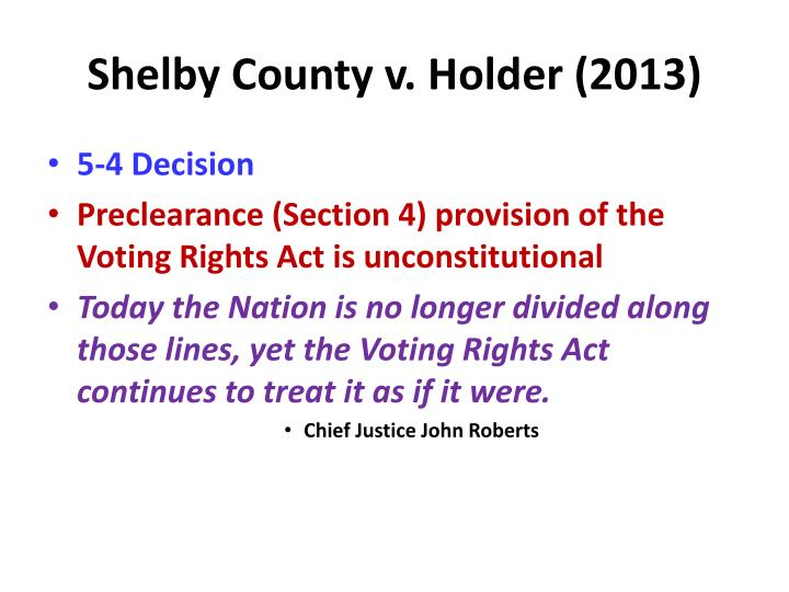 Shelby County v. Holder (2013)