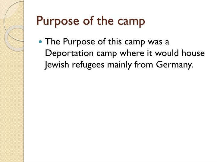 Purpose of the camp