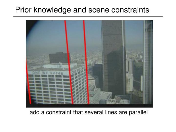 Prior knowledge and scene constraints