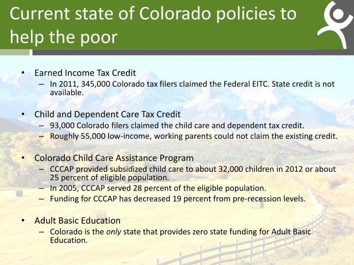 Current state of Colorado policies to help the poor