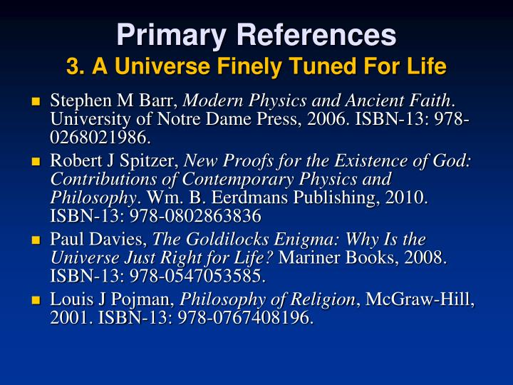 Primary references 3 a universe finely tuned for life