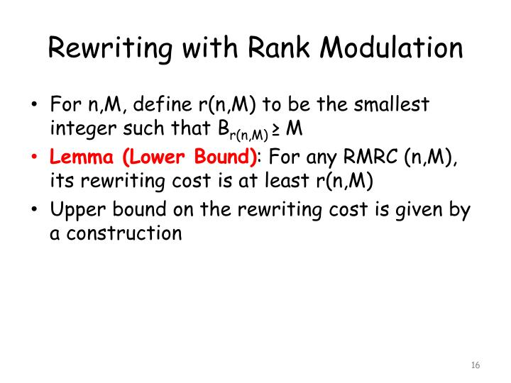 Rewriting with Rank Modulation