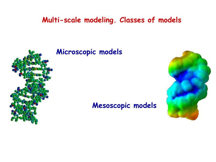 Multi-scale modeling. Classes of models