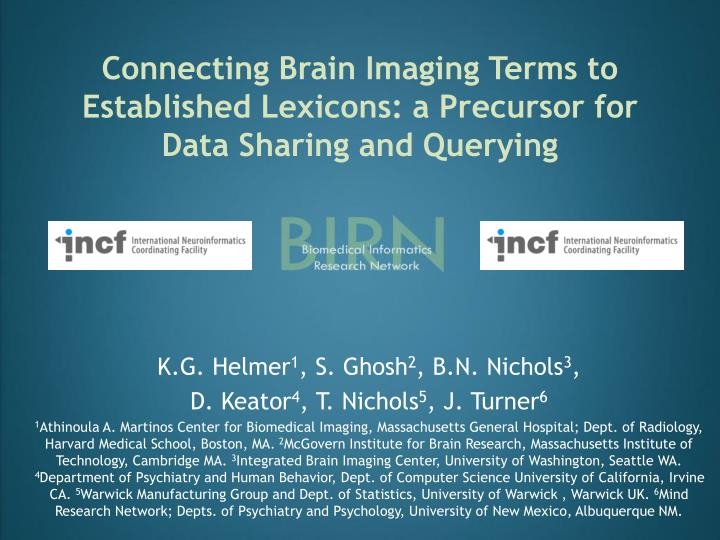 Connecting brain imaging terms to established lexicons a precursor for data sharing and querying