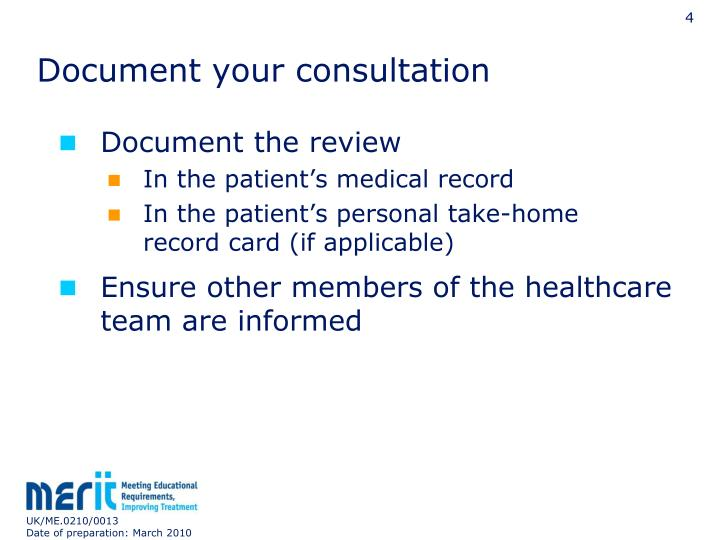 Document your consultation