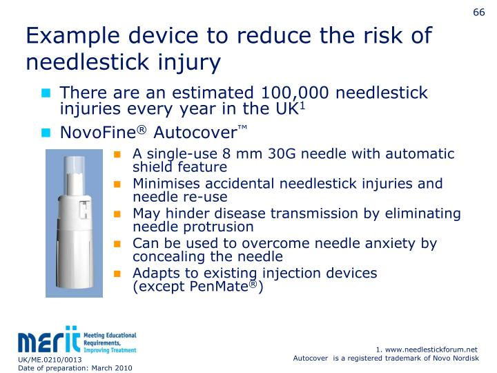 Example device to reduce the risk of needlestick injury