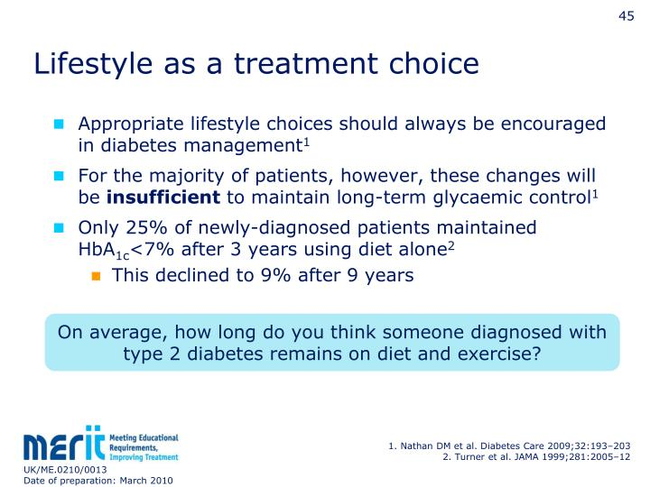 Lifestyle as a treatment choice