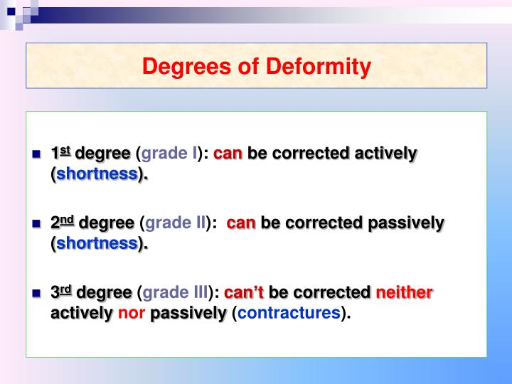 Degrees of Deformity