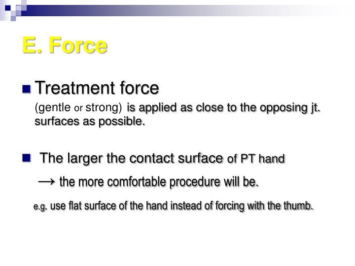 E. Force