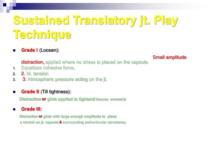 Sustained Translatory jt. Play Technique