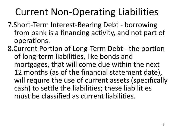 Current Non-Operating Liabilities
