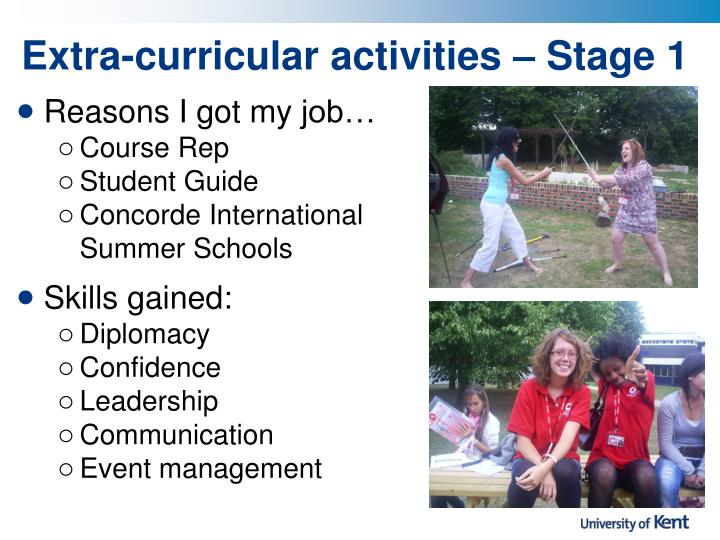 Extra-curricular activities – Stage 1