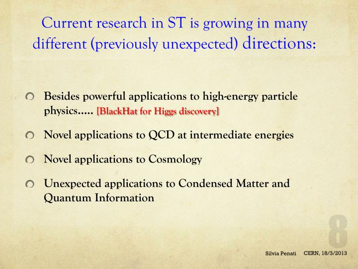 Current research in ST is growing in many different (previously unexpected)