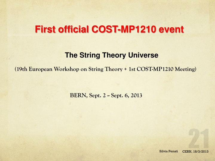 First official COST-MP1210 event