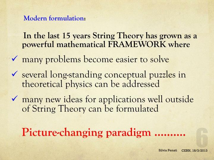 Modern formulation