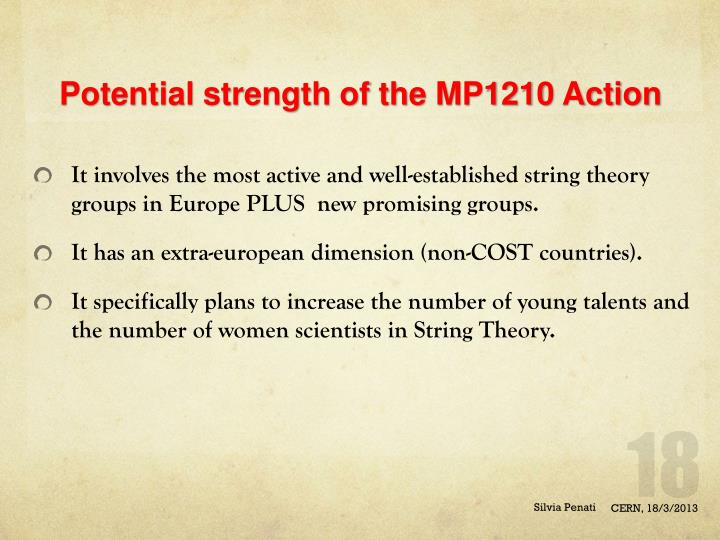 Potential strength of the MP1210 Action