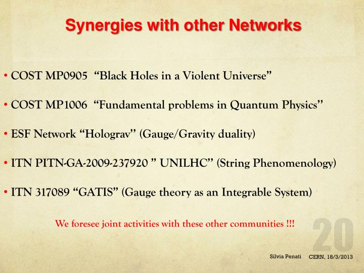 Synergies with other Networks