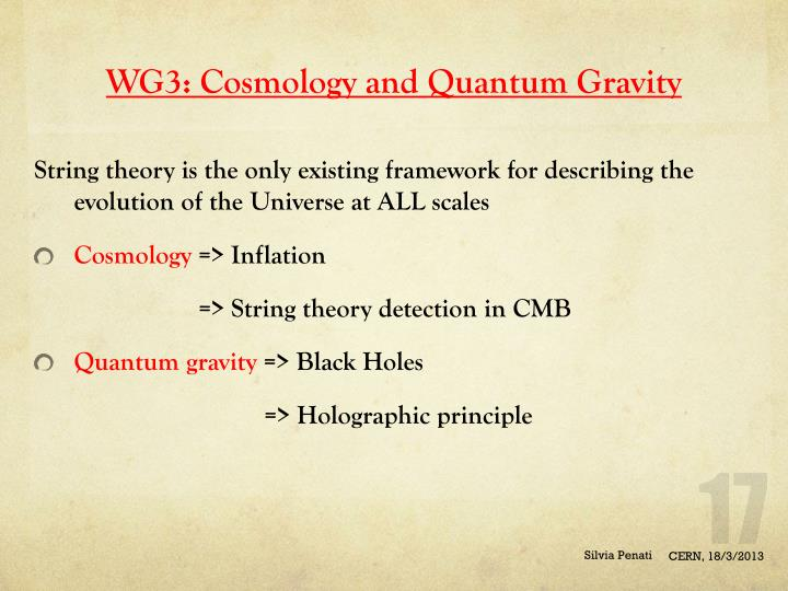 WG3: Cosmology and Quantum Gravity