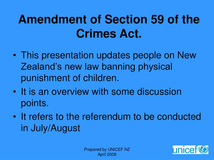 Amendment of Section 59 of the Crimes Act.
