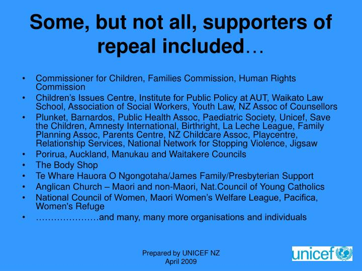 Some, but not all, supporters of repeal included