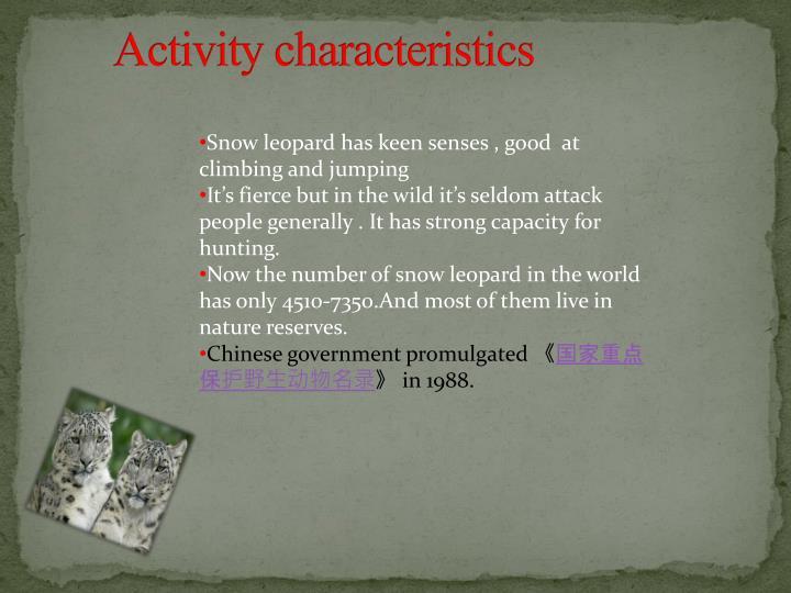 Activity characteristics