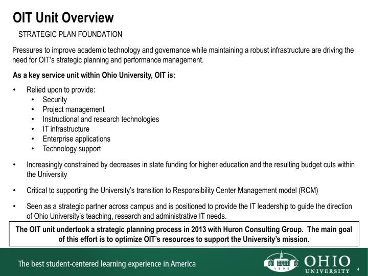 OIT Unit Overview