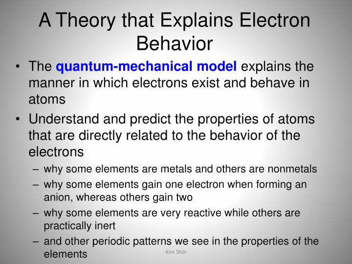 A Theory that Explains Electron Behavior