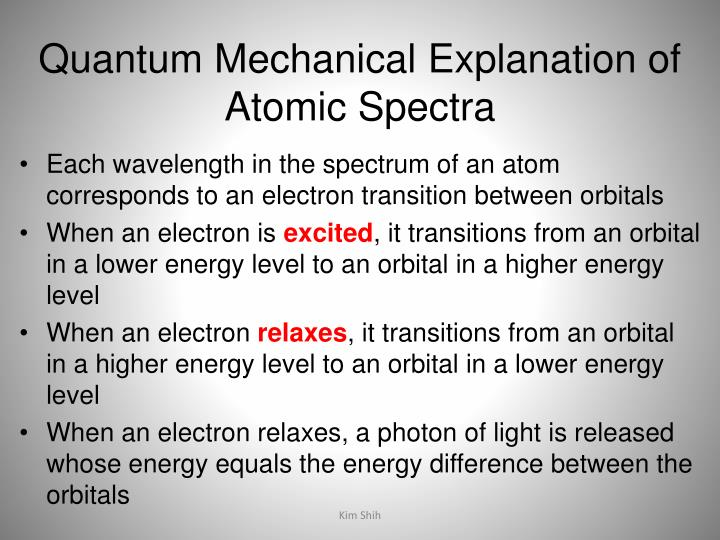 Quantum Mechanical Explanation of Atomic Spectra