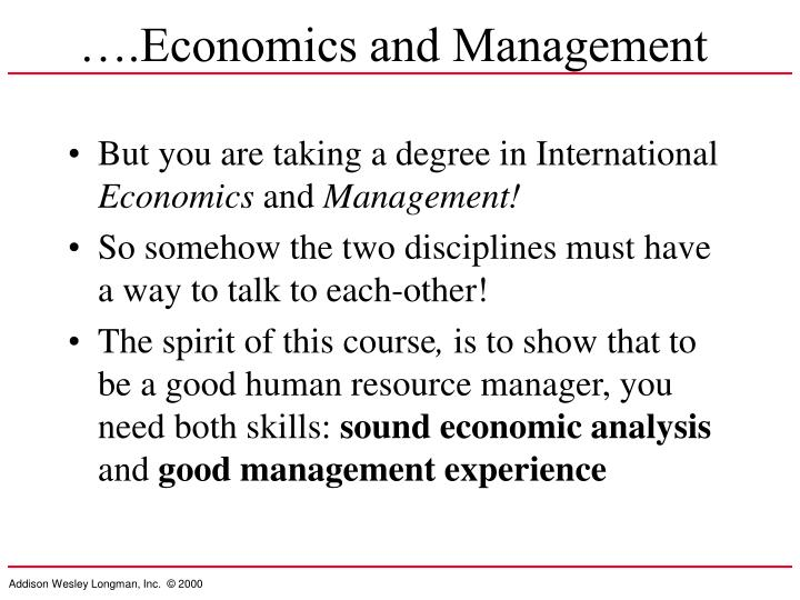 ….Economics and Management