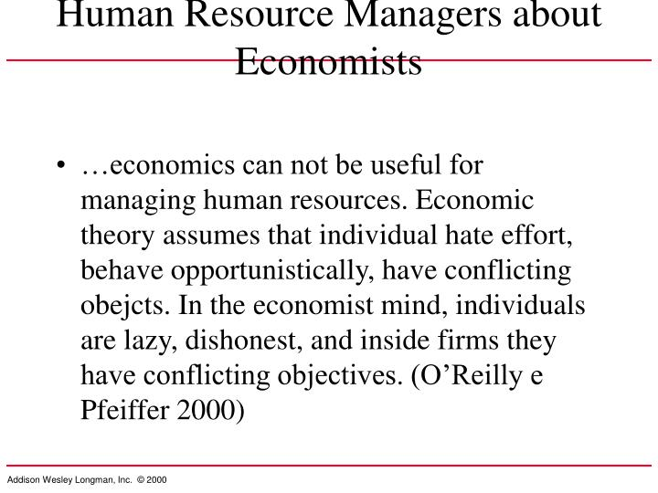 Human Resource Managers about Economists