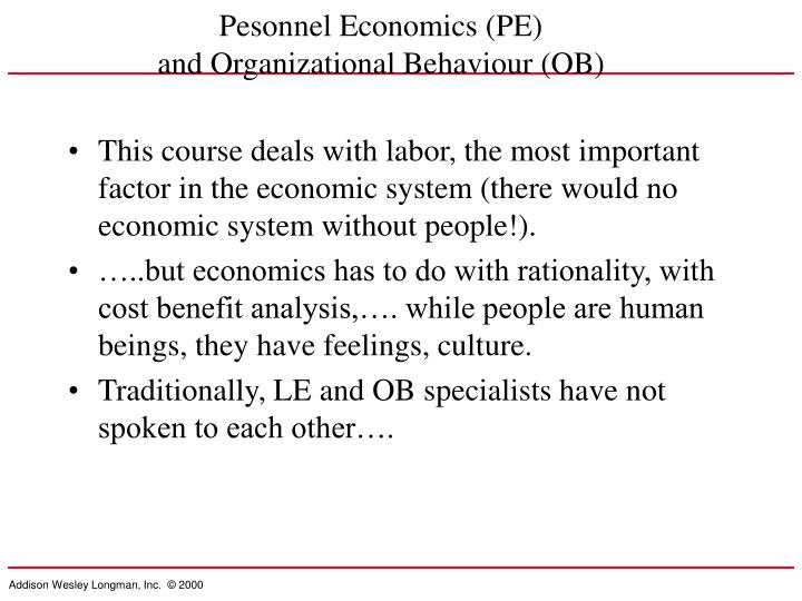 Pesonnel Economics (PE)