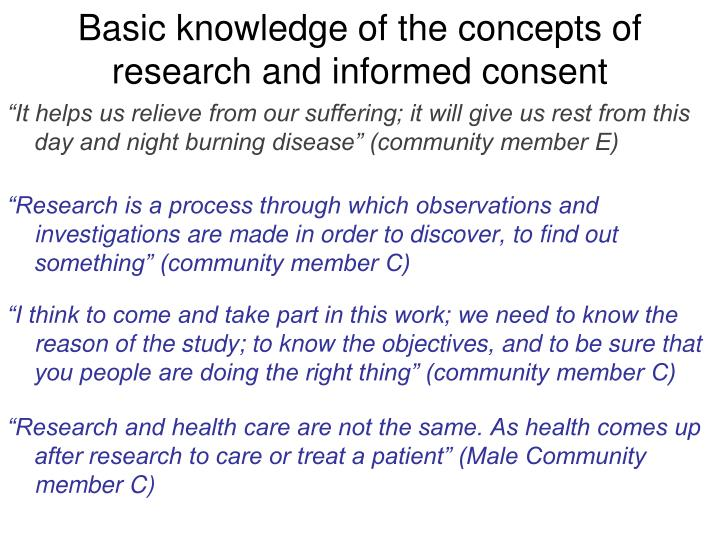 Basic knowledge of the concepts of research and informed consent