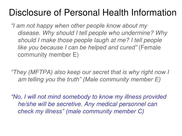 Disclosure of Personal Health Information