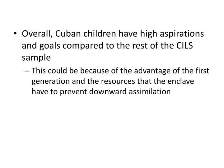 Overall, Cuban children have high aspirations and goals compared to the rest of the CILS sample