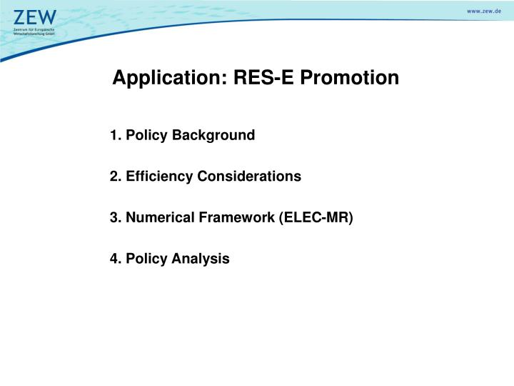 Application: RES-E Promotion