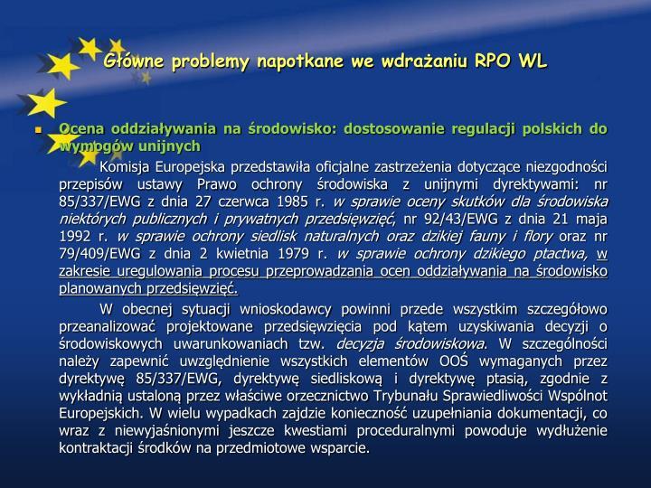 Główne problemy napotkane we wdrażaniu RPO WL