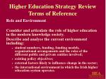 higher education strategy review terms of reference