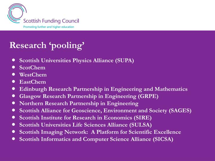 Research 'pooling'