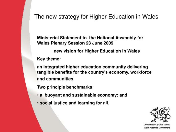 The new strategy for Higher Education in Wales