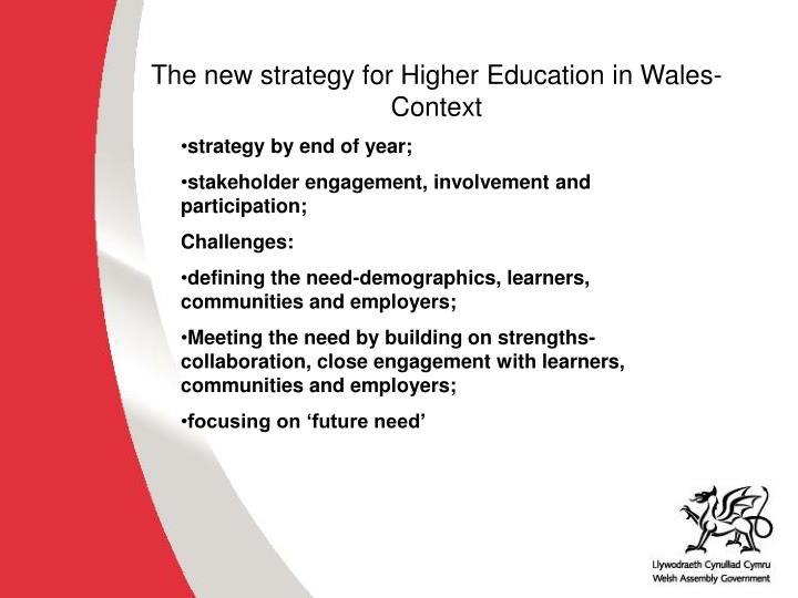The new strategy for Higher Education in Wales-Context
