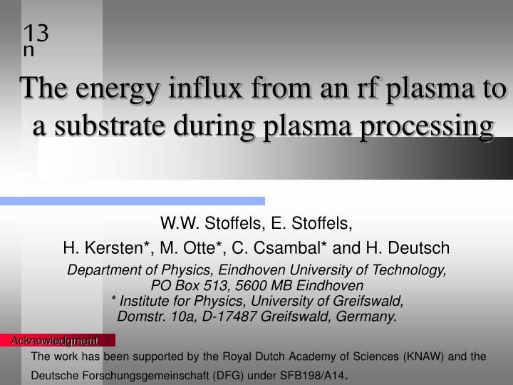 The energy influx from an rf plasma to a substrate during plasma processing