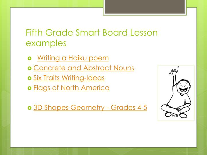 Fifth Grade Smart Board Lesson examples