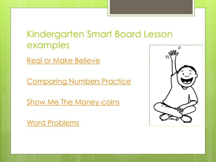 Kindergarten smart board lesson examples