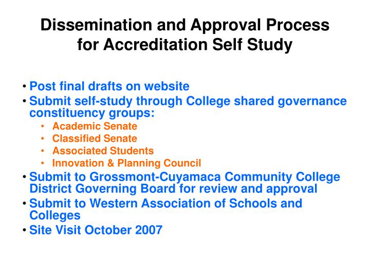 Dissemination and Approval Process