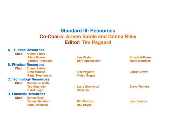 Standard III: Resources